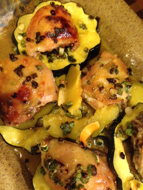 Savory combination of squash and chicken.