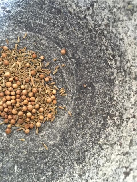 Toasted cumin and coriander seeds