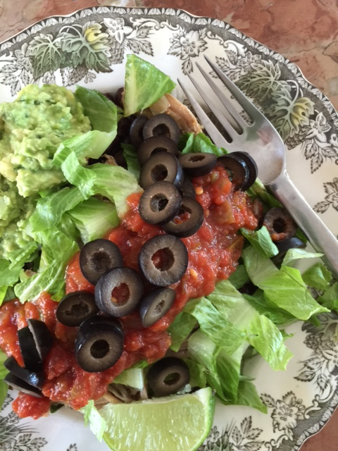 Flavorful carnita salad with avocado lime dressing