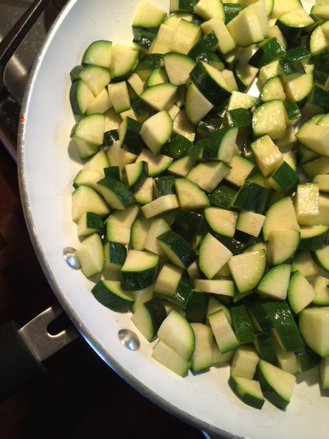 Sauteing diced zucchini