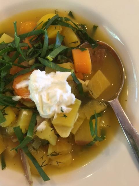 Warm and inviting golden beet borscht